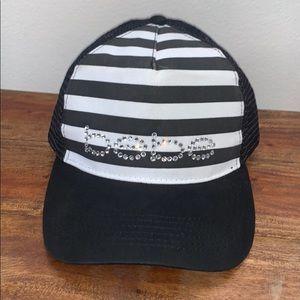 Bebe Black and White Striped Rhinestone Hat